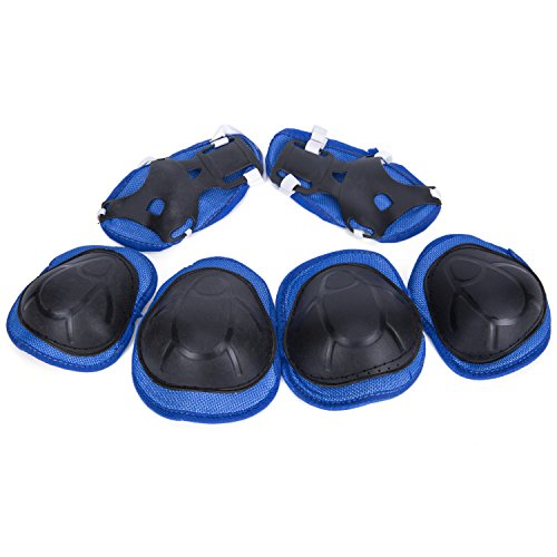 SUNVP Child Kids Multi Sport Protective Gear Set Knee Pads and Elbow Pads with Wrist Guards for Cycling, Skateboard, Scooter, Bmx, Bike and Other Extreme Sports Activities, Blue/Black
