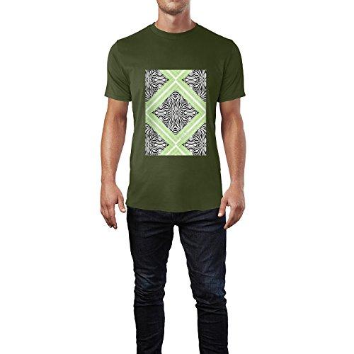 SINUS ART® Print Collage mit Zebra Muster Herren T-Shirts in Armee Grün Fun Shirt mit tollen Aufdruck