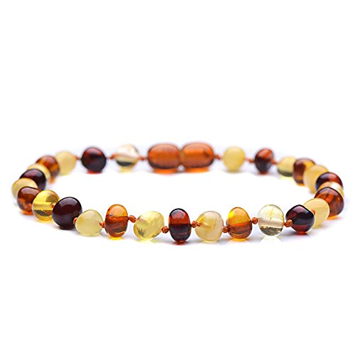 Polished Baltic Amber Bracelet for Adult with A Plastic Screw - Choose Your Color and Choose Your Size! - 3 Sizes and 10 Different Colors - Genuine Baltic Amber (7.8inches, - Bracelet Balance Pain $10