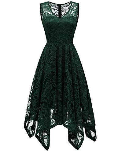 - Meetjen Women's Cocktail V-Neck Dress Floral Lace Handkerchief Hem Asymmetrical Homecoming Dress DarkGreen L