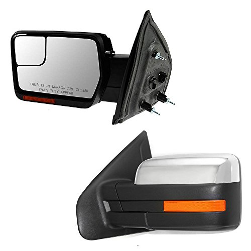 IINAWO 2x For 07-14 Ford F-150 Pickup Truck Power Heated + Puddle Lights + Turn Signal Lights Top-Half Chrome Cap Manual Folding Towing Mirrors ()
