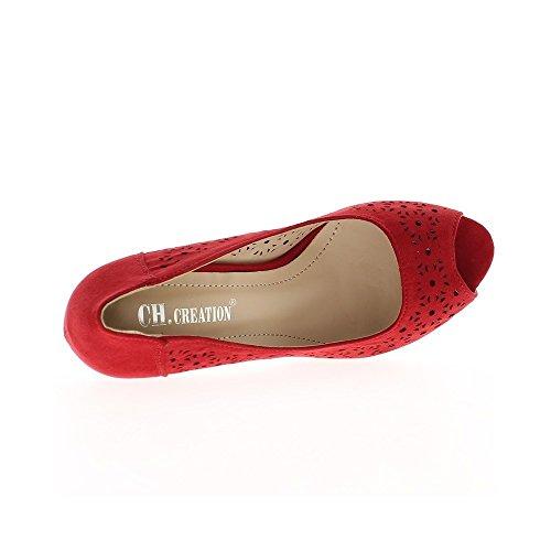 Escarpins ouverts rouges à talons de 9cm et plateau