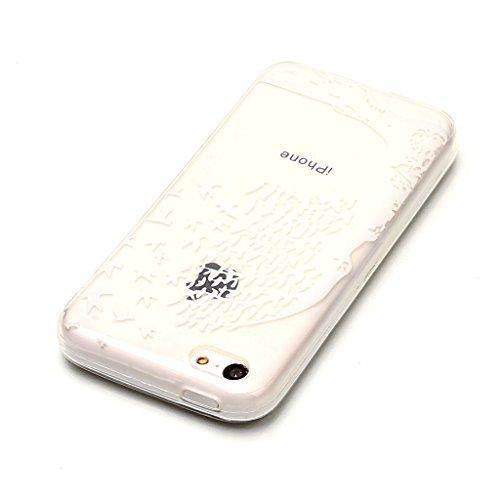 Crisant Weißer baum Drucken Design weich Silikon Ultra dünn TPU Transparent schutzhülle Hülle für Apple iPhone 5C,Premium Handy Tasche Schutz Case Cover Crystal Bumper Schale für Apple iPhone 5C