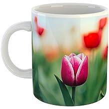 Westlake - Coffee Cup Mug - Keukenhof Flower - Modern Picture Photography Artwork Home Office Birthday Gift - 11oz (69m ae2)