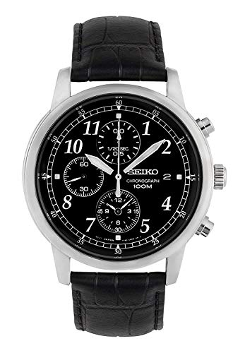 Black Dial Automatic Chronograph Watch - Seiko Men's SNDC33 Classic Black Leather Black Chronograph Dial Watch