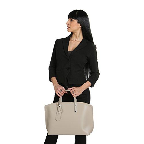 Chicca Borse Bolsa Mujer en Cuero Genuino Made in Italy 47x30x14 Cm Barro