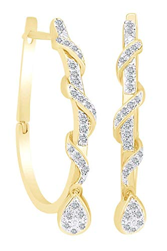 1/4 Carat Round White Natural Diamond Swirl Dance Hoop Earrings in 14K Solid Yellow Gold (0.25 Cttw)