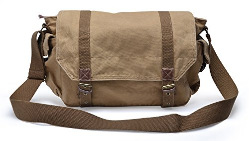 Beige Classic Flap (Gootium Classic Canvas Messenger Bag Vintage Cross-body Shoulder Bag, Khaki)