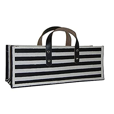 All For Giving Striped Wine Purse, Black/White