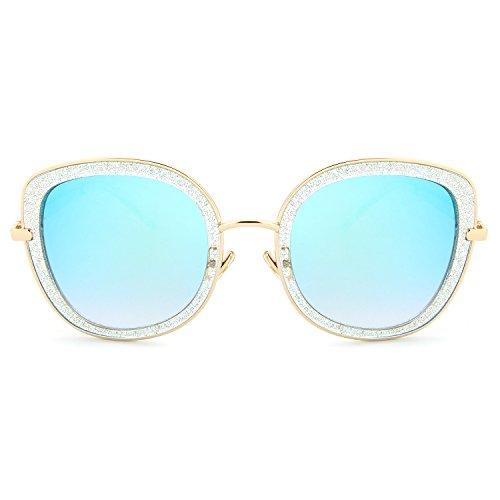 HDCRAFTER Sparkle Glitter Mirrored Lens Clear Frame Sunglasses for Women - Sunglasses Glitter