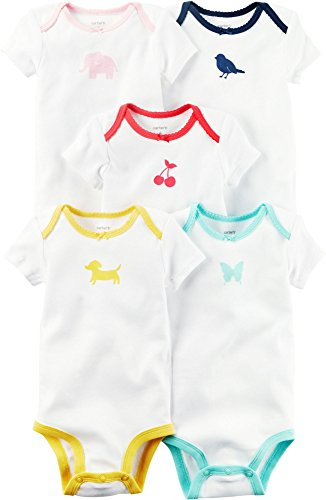 Carter's Baby Girls' 5-Pack Color Trim Bodysuits 3 Months