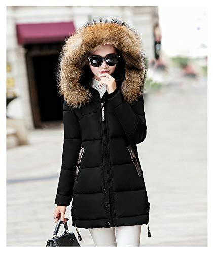 Larga Invierno Para Chaqueta De Negro Algodón Mujer Capucha Y Espesar Con Abrigo Acolchado Cálida Aq0w5EE