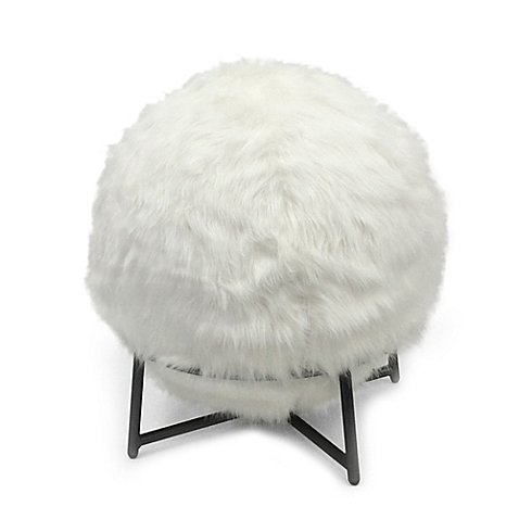 Inflatable Ball Chair with Faux Fur Cover and Stand in Ivory