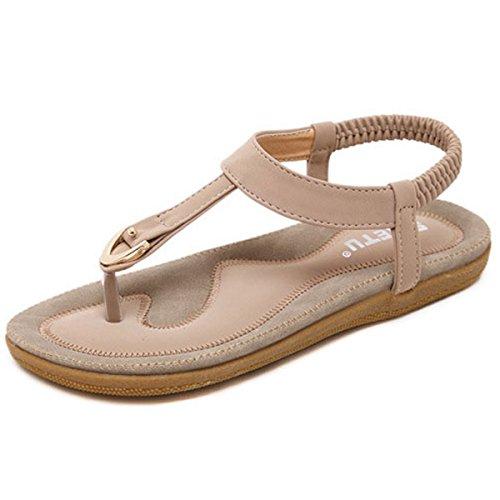 Orangetime Sandals Women Slingback T-Strap Flat Sandal Comfort Bohemian Beach Flats Ladies Ankle Strap Thong Sandals Pink 42 by Orangetime