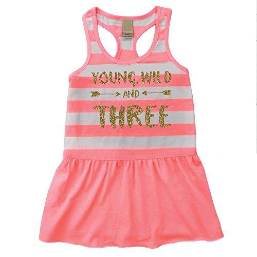 Third Birthday Outfit Girl Young Wild and Three Birthday Summer Tank Dress (3T)