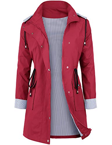 DOSWODE Women Waterproof Raincoat Lightweight Rain Jacket Hooded Windbreaker Trench Coats -