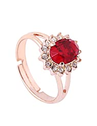 Acefeel Fashion Wild Oval Red Crystal Good-cut Sun Shaped Adjustable Ring Novelty jewelry R174