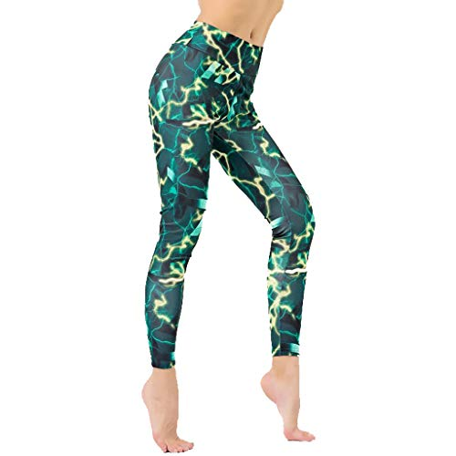 Women's High Waist Yoga Capri Leggings with Side Pockets, Tummy Control Workout Squat-Proof Yoga Pants Green
