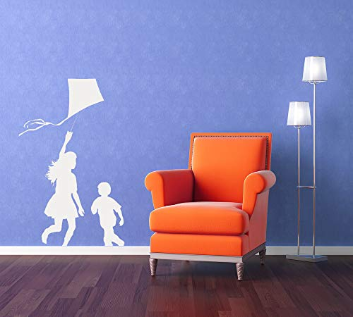 Kite Wall Artwork Kids Silhouette Nursery Art Childrens Bedroom Decal Kite Decor Home Boy Girl Bedroom Windy Wind Play Recess Made in USA