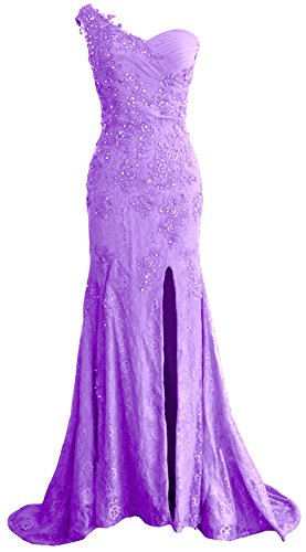 Prom Women MACloth Lace Formal Gown Shoulder Evening Mermaid Lavendel Dress One Long rpIOxnIf