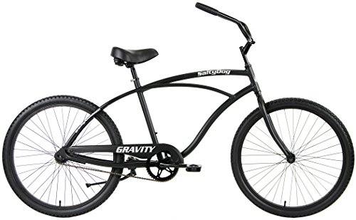 Gravity Salty Dog ALUMINUM Beach Cruiser Single Speed Bicycle (Gloss Black, Mens)