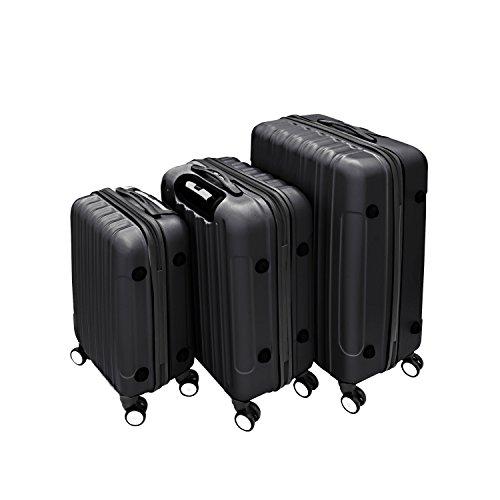 69b6ca935352 ALEKO 3 Piece Luggage Travel Bag Set ABS Suitcase With Lock, Black ...