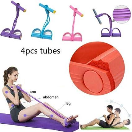 Elastic Pedal Exerciser Yoga 4 Tube Resistance Band Puller Rope Fitness Gym