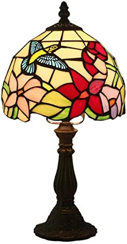 Tiffany Style Hummingbird Table Lamp Vintage Floral Bedside Lamp Stained Glass Zinc Alloy Base Night Lamp for Bedroom Living Room, 15 Tall
