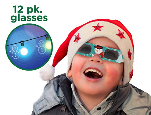 Holiday Specs 3D GLASSES-12pk Holographic glasses, Look through Glasses at your Holiday Lights and see Snowmen, Snowflakes, Santa, Gingerbread Men, Candy Canes or Reindeer Appear before your Eyes! (Things To Look At With 3d Glasses)