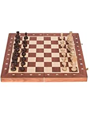SQUARE - Pro Schack No. 4 MAHOGNY – Schackspel - Schackfigurer och schackbräde av trä