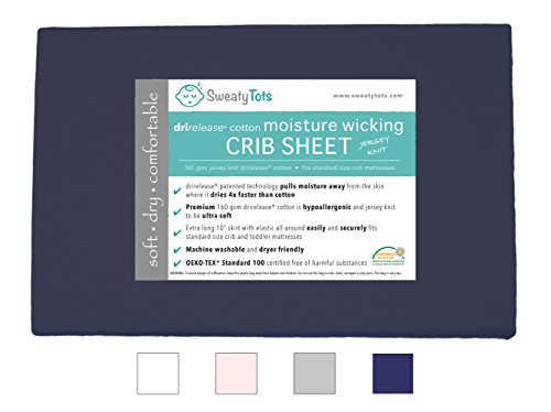 Moisture Wicking Fitted Crib Sheet for Sweaty, Leaky, Drooly Sleepers - Jersey Knit, Fits Standard Crib and Toddler Mattresses, Features Patented Drirelease(R) Moisture Wicking Technology (Navy Blue)