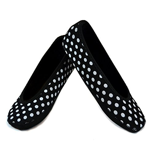 NuFoot Ballet Flats Women's Shoes Best Foldable& Flexible Flats Slipper Socks Travel Slippers & Exercise Shoes Dance Shoes Yoga Socks House Shoes Indoor Slippers Black with White Polka Dot Extra Large