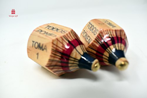 NEW Alondra's Imports (TM) Elegantly Handcrafted, Classic Wood Spinning Top Game (Pirinola Toma Todo - Artesania De Madera) Assorted Color at Tip - Premium Quality Finish - Complete Set of 2 (Hats From Around The World)