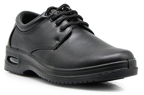 OR4 Mens Black Oil Resistant Anti Slip Restaurant Lace up Oxfords Loafers Working Shoes with Air (9.5, Lace up) by Enzo Romeo