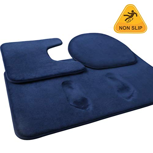 FEELSO Memory Foam Bath Mat Set, 3 Piece Bathroom Rugs Non Slip and Absorbent Mats, 20x31 Inches Floor Mat, 15x20 Inches U-Shaped Contour Rug and Toilet Lid Cover for Tub Shower & Bath Room, Blue