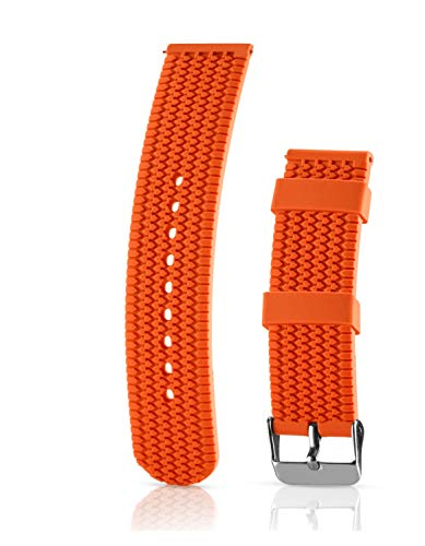 Silicone Replacement Watch Band - Quick Release Soft Rubber Strap - Waterproof, Textured Tire Pattern (24mm, Orange) ()