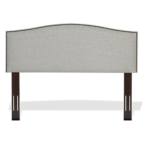 Carlisle Upholstered Headboard Panel with Solid Wood Adjustable Frame and Nail head Trim Design, Grande Pearl Finish, Full / (Fashion Bed Group Fabric Bed)
