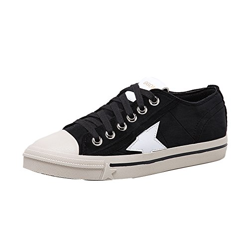 1TO9 Womens Backpacking Microfiber Lace-Up Microfiber Walking Shoes Black