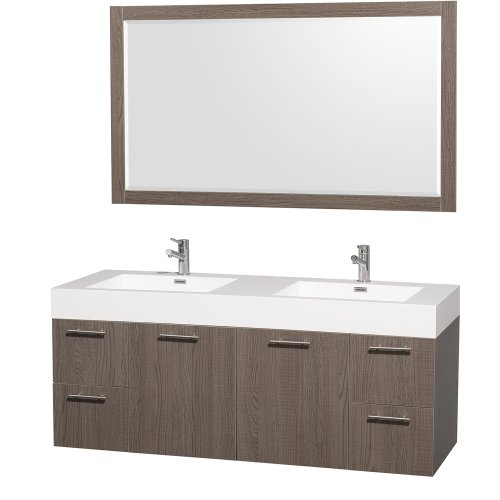 (Wyndham Collection Amare 60 inch Double Bathroom Vanity in Grey Oak with Acrylic-Resin Top, Integrated Sinks, and 58 inch Mirror )