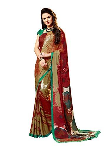 Jaanvi fashion Women's Crepe Printed Saree (Green_Red) (Crepe Silk Saree)