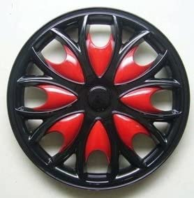 Rezistanz SHARK 14 Black and Red Car Hub Caps Wheel Trims 14 inch set of four