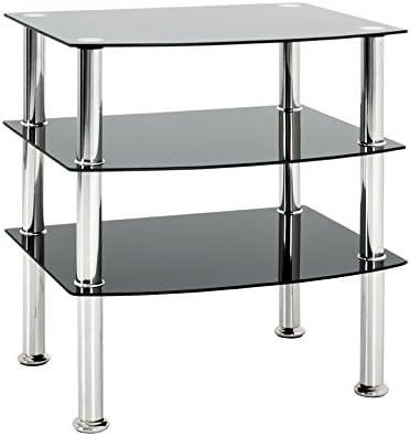Acciaio Inox//Nero Haku mobili tavolino Vetro