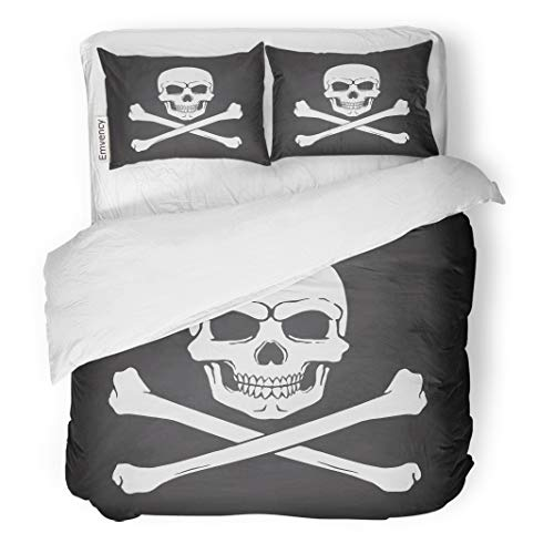 Emvency Decor Duvet Cover Set Full/Queen Size Silhouette of Skull Jolly Roger with Crossbones at The Bottom on Blackboard 3 Piece Brushed Microfiber Fabric Print Bedding Set Cover]()