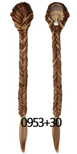 Price comparison product image Yuehong Clip In Braided Ponytail Elastic Drawstring Rope Fishtail Fishbone Plaited Pony Tail Synthetic Hair Chignon Hairpiece