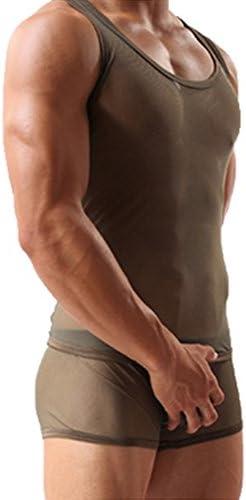 Mesh See-through Men/'s Breathable T-Shirt Sport Vest Tank Top Briefs Sleepwear