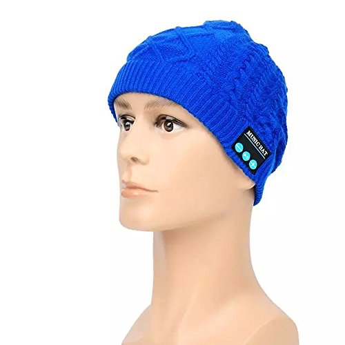 Megadream Sport Wireless Warm Knitted Washable Music Hat with Headphone & Hands-Free & Speaker for iPhone X 8 Plus 8 7 Plus 6S 6 iPad Samsung Galaxy Huawei and Other Device – Blue