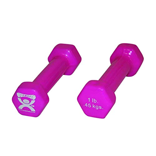 CanDo vinyl coated dumbbell, 1 lb, Pink