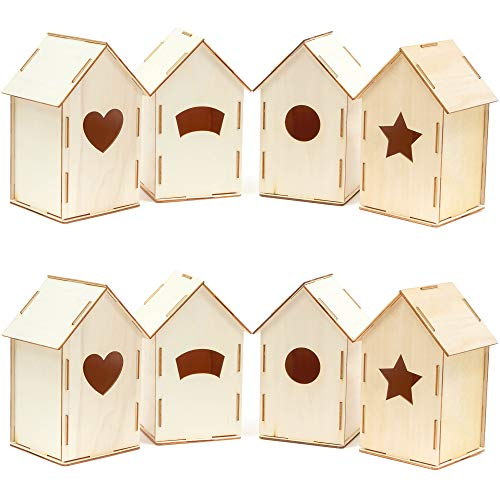 Bright Creations Mini Wood Bird Houses to Paint, DIY Crafts (8 Count), 4 Designs