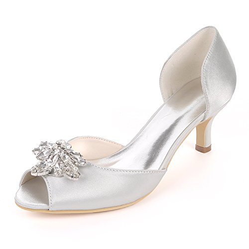 Flower-Ager Y1195-03K Mujeres Peep Toe Sandalias Piedras De Diamantes De Imitación Bombas Talones Medio Satén Wedding Party Court Shoes,Silver,UK6/EU39