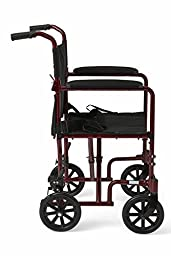 Medline Aluminum Transport Chair with  Wheels, Red, 8 inch